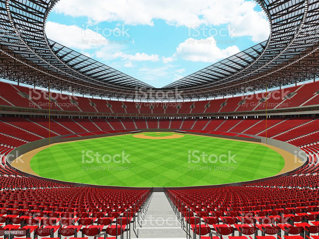 Baseball stadium with red seats and VIP boxes stock photo