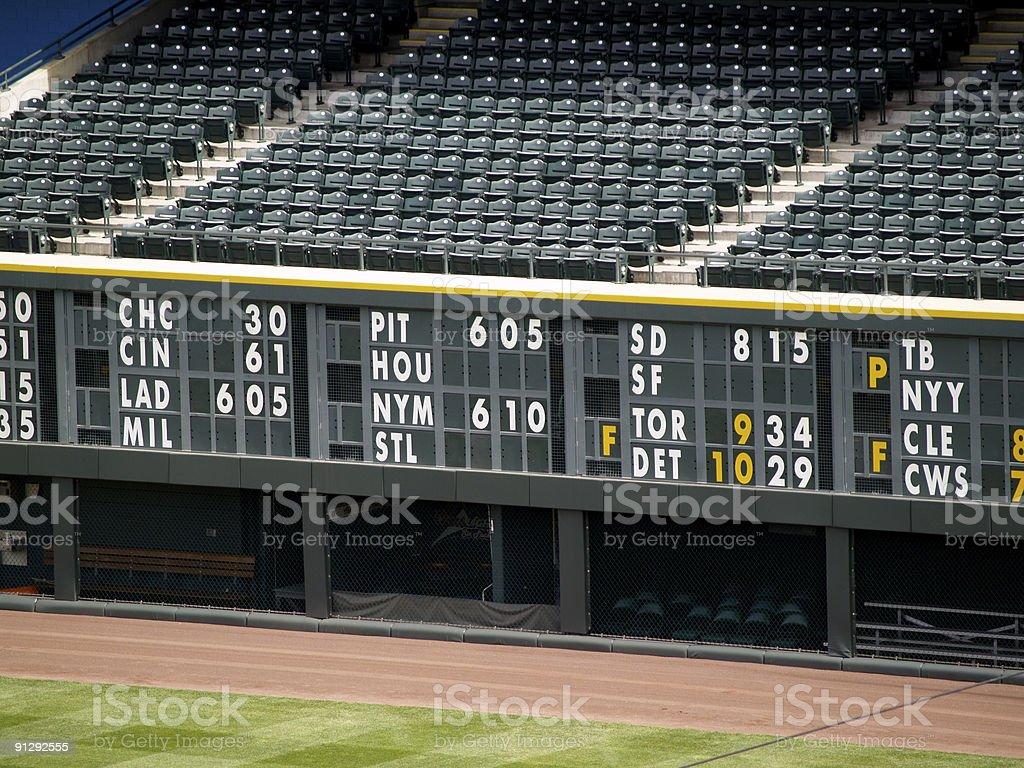 Baseball statistics board royalty-free stock photo