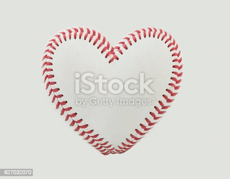 istock Baseball Stitches in the Shape of a Heart 627032070