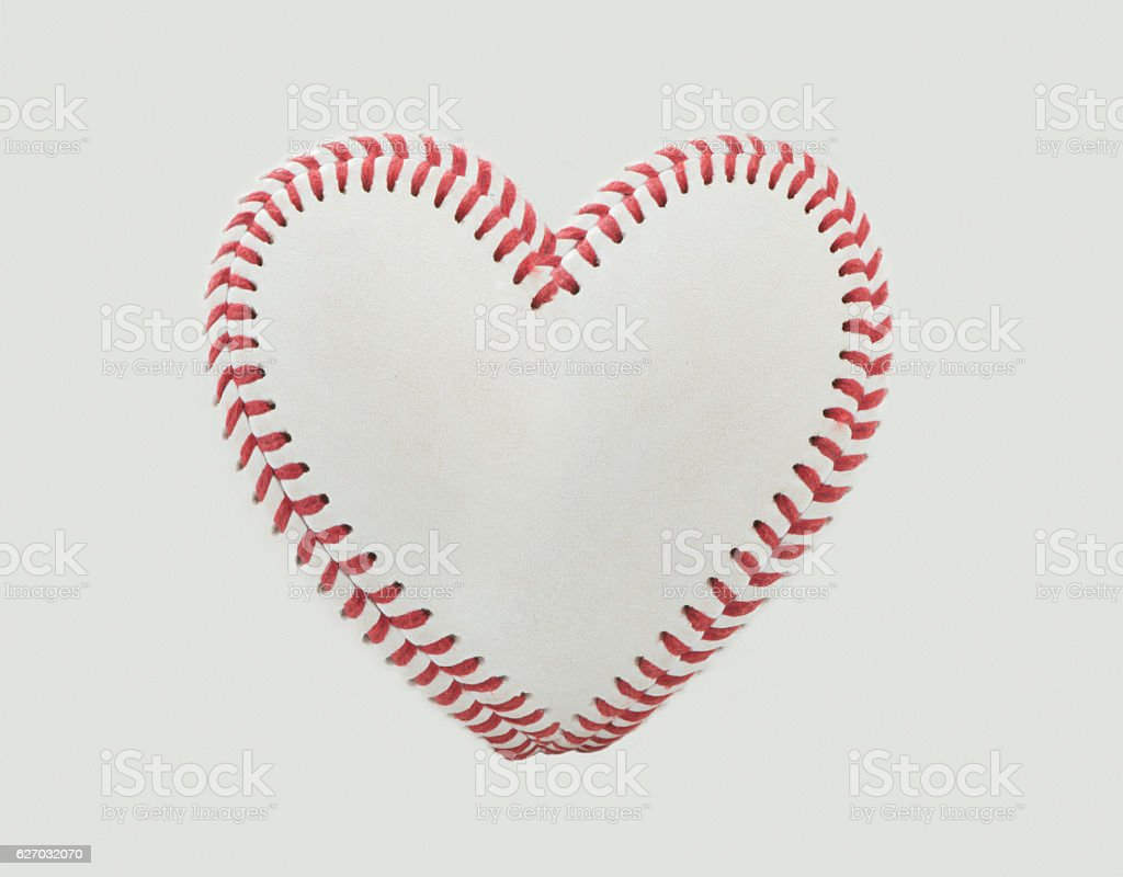 Baseball Stitches in the Shape of a Heart stock photo