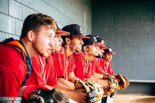 Low angle side viewpoint of young Hispanic baseball team sitting on bench in dugout and watching action on the field.