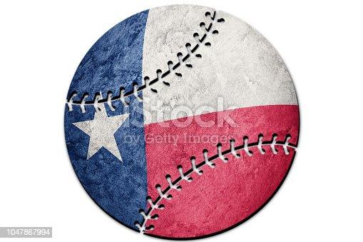 istock Baseball Texas state flag. Texas flag background Baseball 1047867994