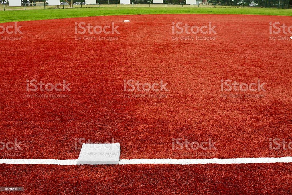 Baseball Third Base Towards Second stock photo