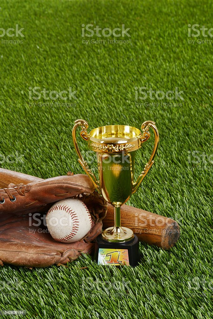 baseball trophy with bat ball and glove stock photo