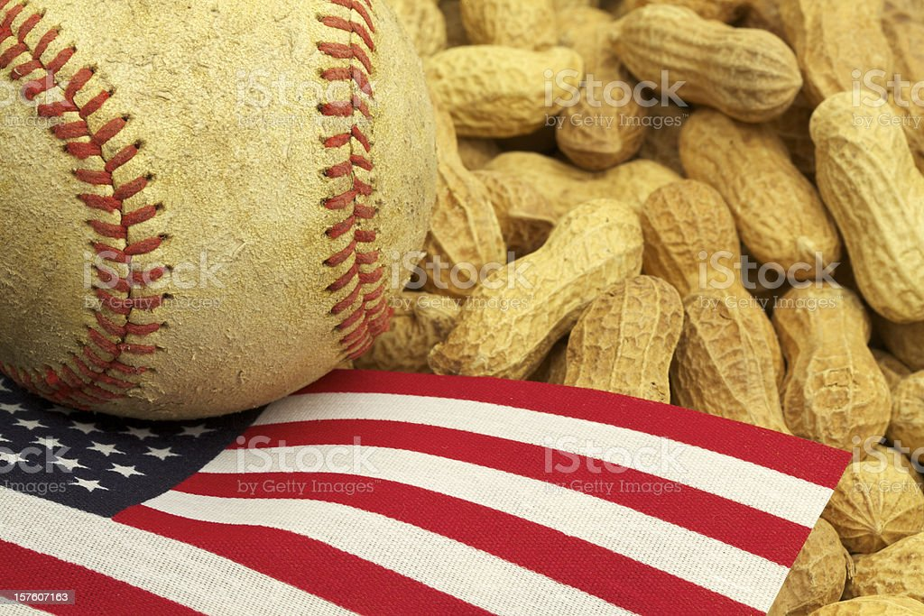 Baseball, US Flag and Peanuts, American Tradition, Patriotism stock photo
