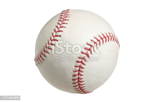 Major league baseball on white with clipping path.