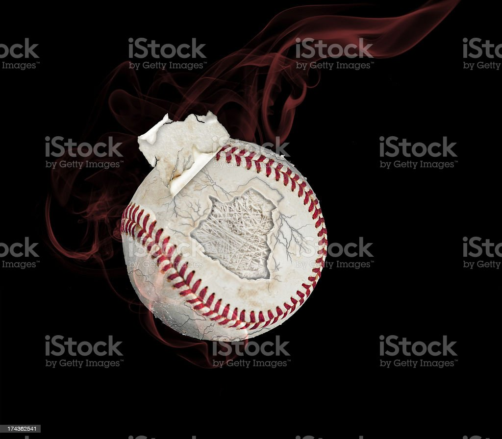 Baseball with Crimson Smoke and Piece of Cover Flying Off royalty-free stock photo