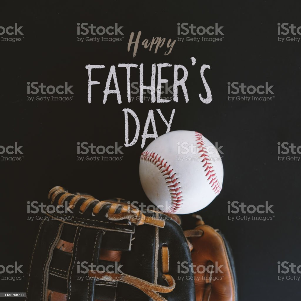 Baseball with glove for Father's Day square graphic. stock photo