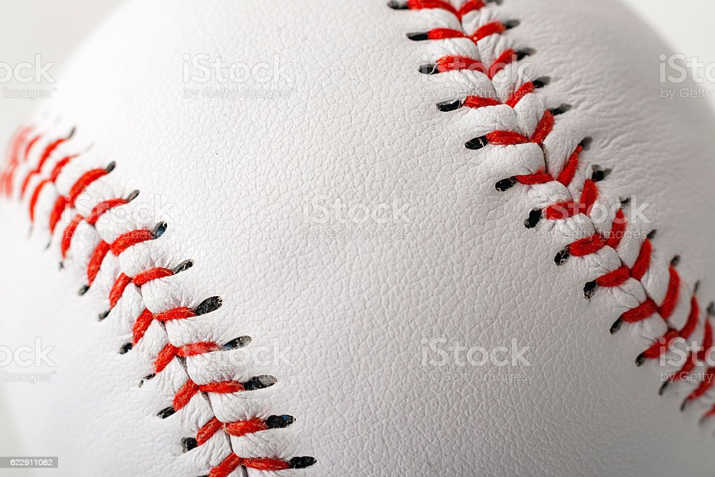 Baseball with the focus on the stitches with copyspace – Foto