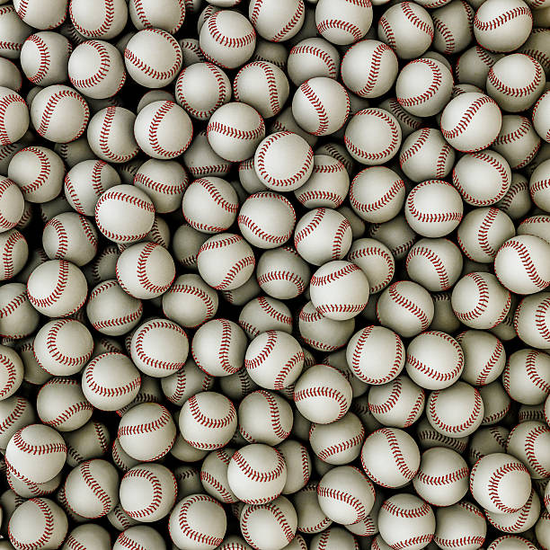 Baseballs background stock photo