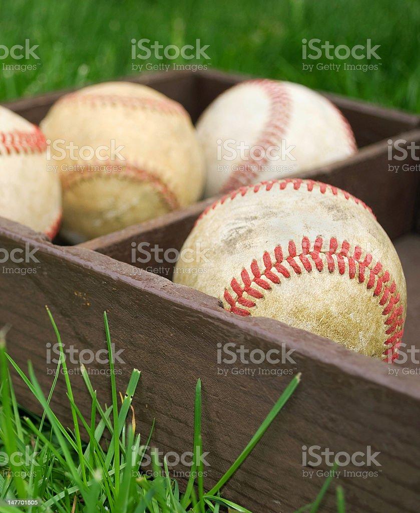 baseballs  in a box royalty-free stock photo
