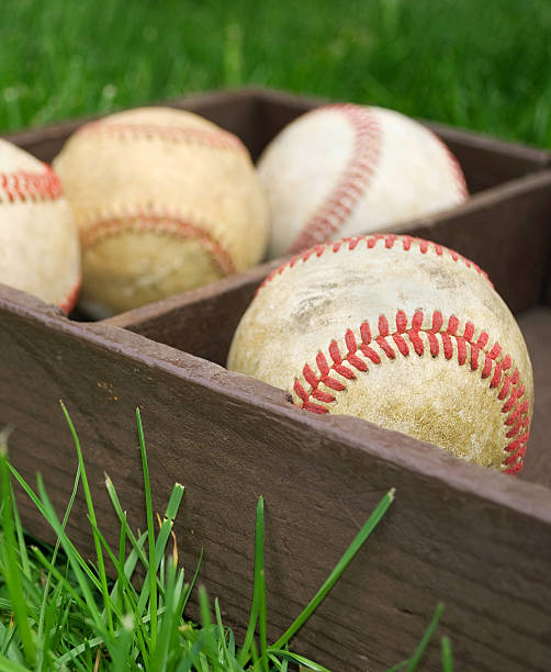 baseballs  in a box - spring training stock photos and pictures