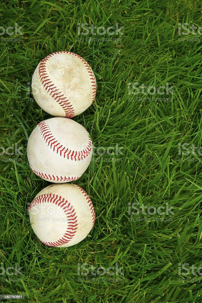 Baseballs on sports field royalty-free stock photo