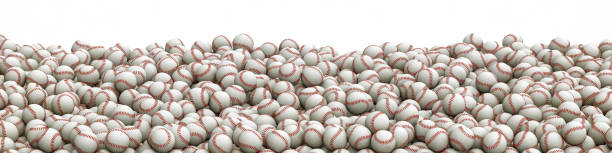 Baseballs pile panorama stock photo