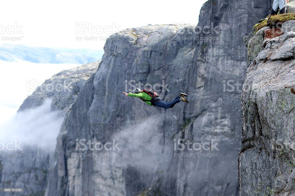 Basejumper in Norway stock photo