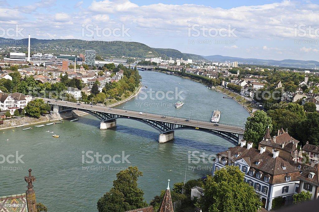 Basel and Bridge stock photo