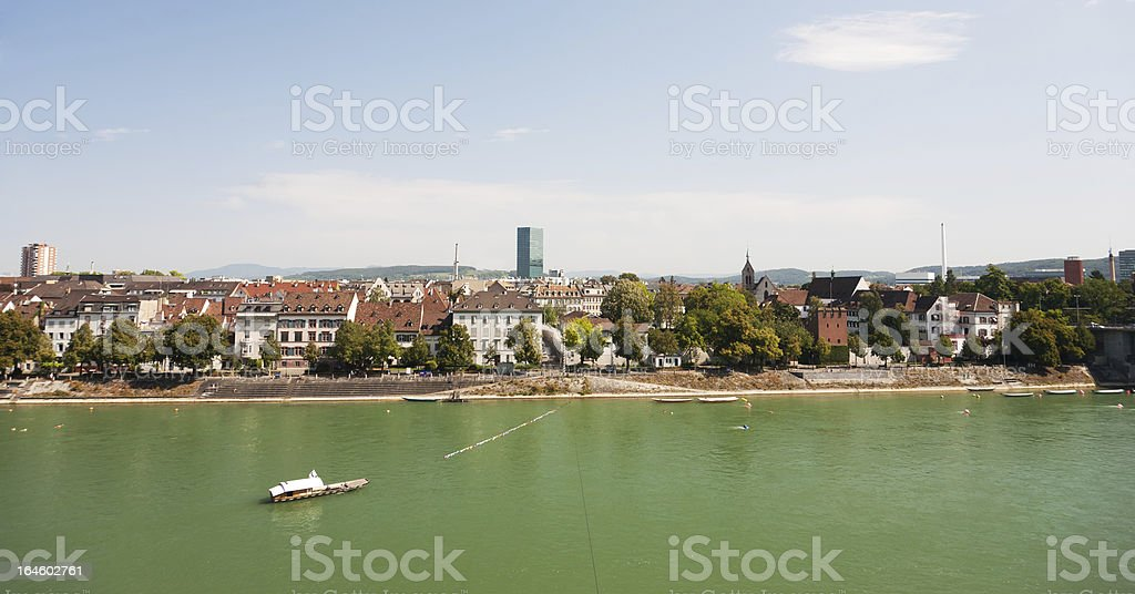 Basel and the Rhein ferry royalty-free stock photo