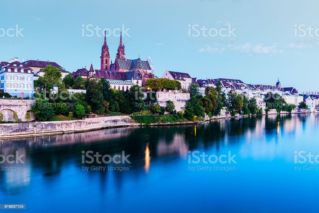 Basel architecture along Rhine River – Foto