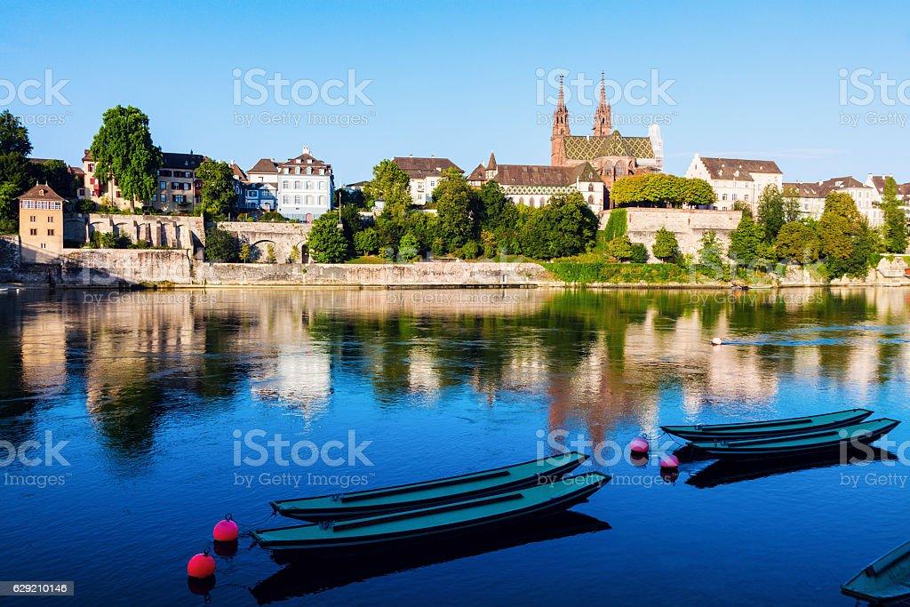 Basel architecture along Rhine River stock photo