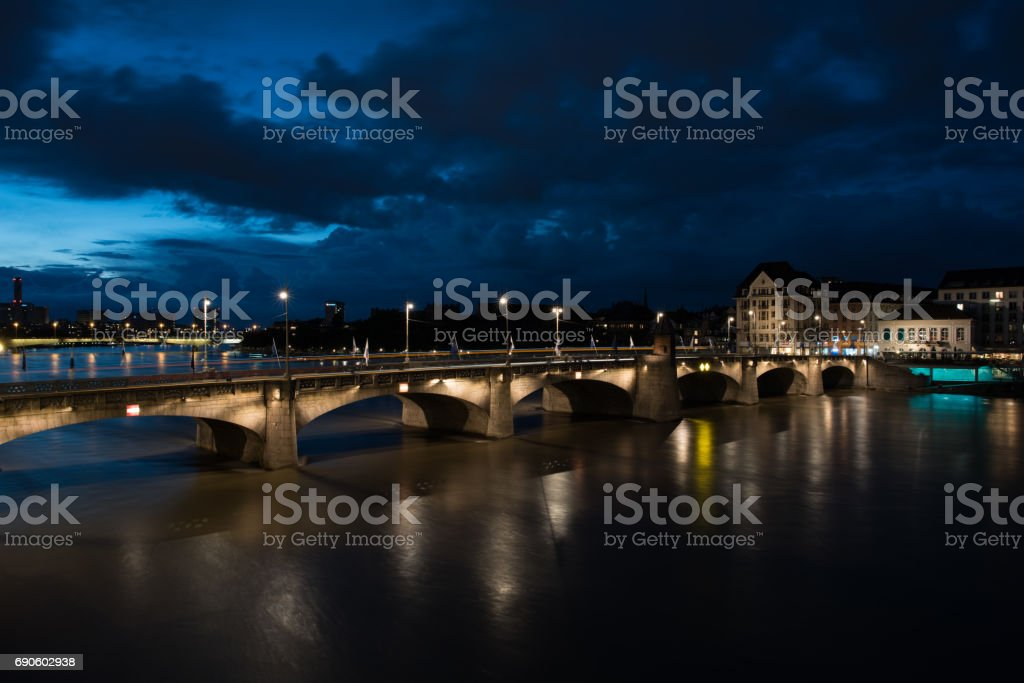 Basel blue hour stock photo