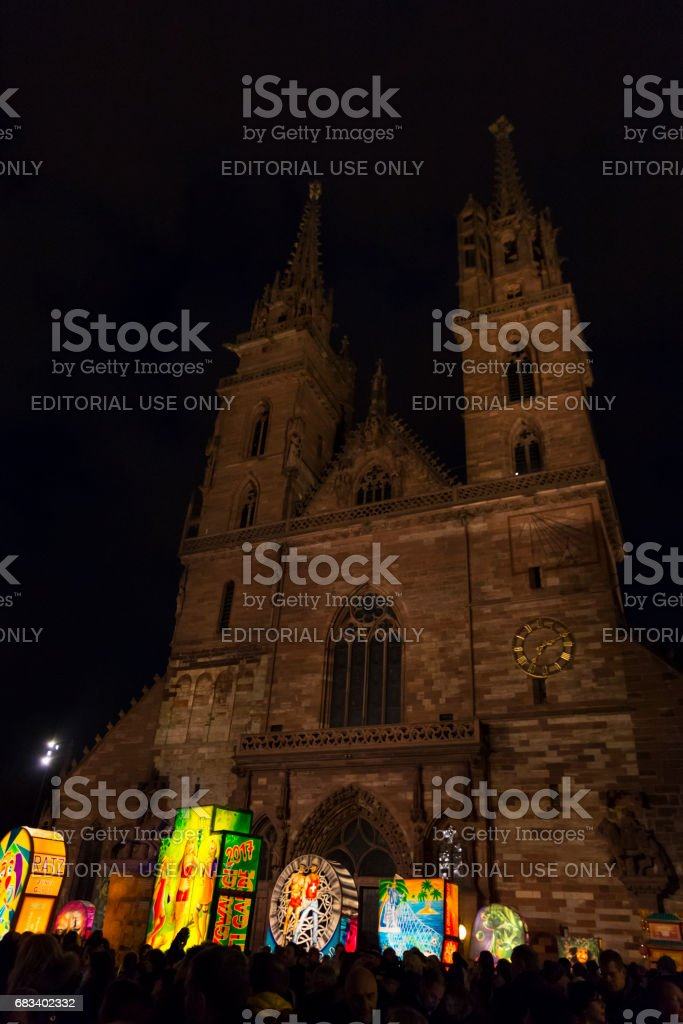 Basel carnival 2017 main lantern exhibition stock photo
