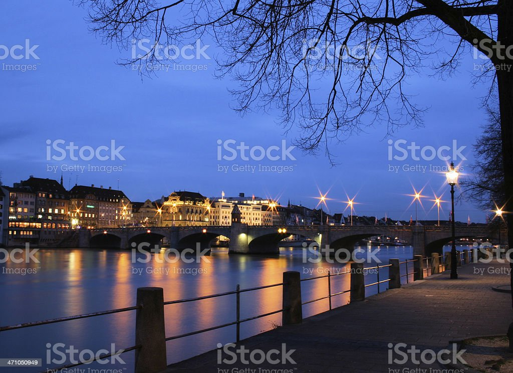 Basel City / Ancient Stone Arch Bridge royalty-free stock photo