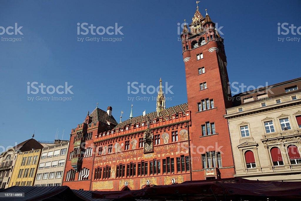 Basel City Hall at Blue Sky stock photo
