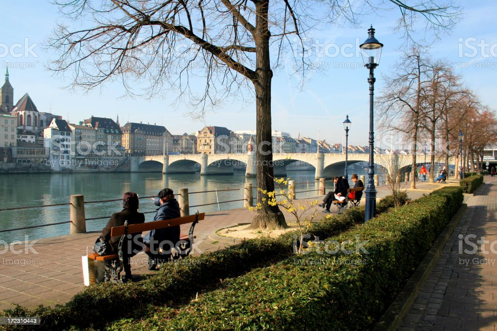 Basel City / Relaxing at the Rhine River stock photo