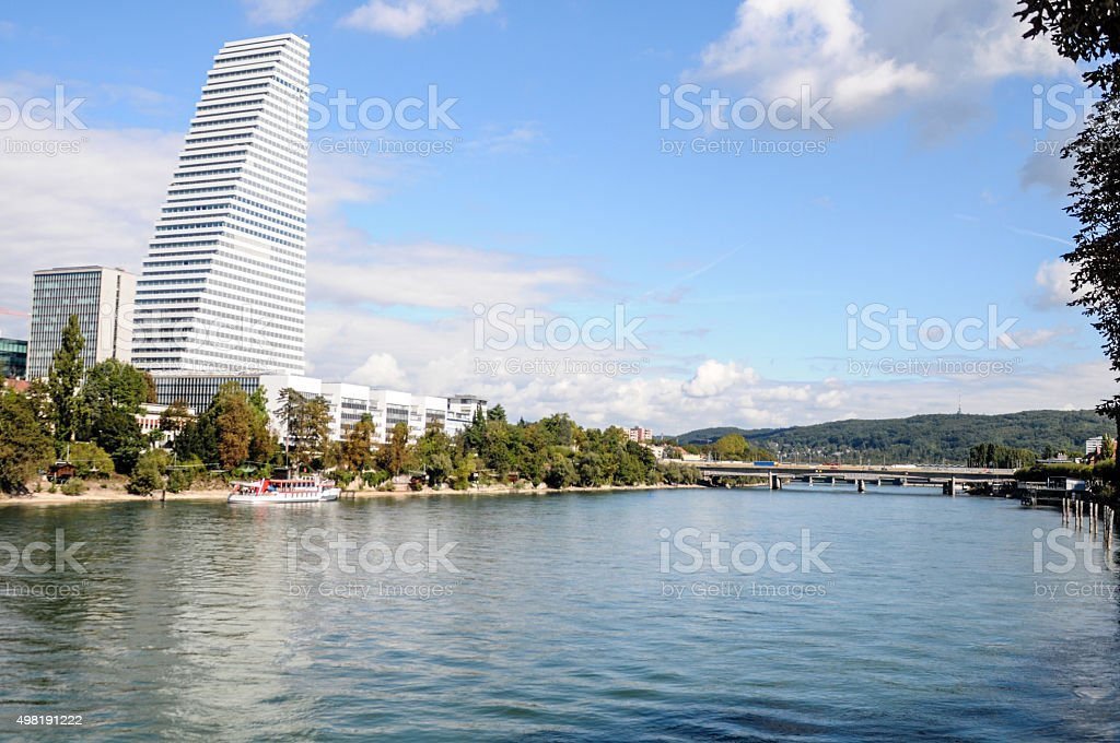 Basel City with River Rhine stock photo