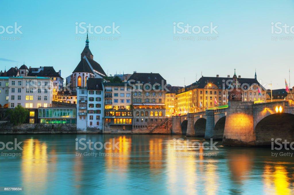 Basel cityscape in Switzerland stock photo