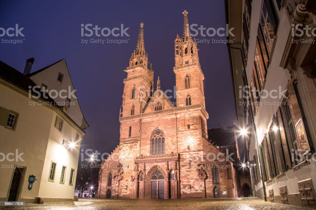 Basel Minster at Night stock photo