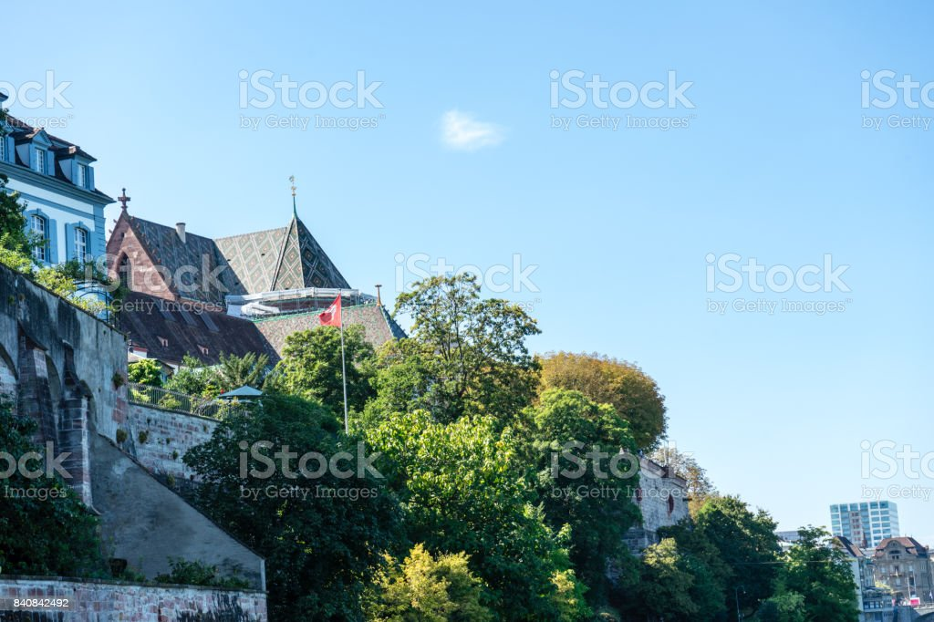 basel munster from rhine river looking up stock photo