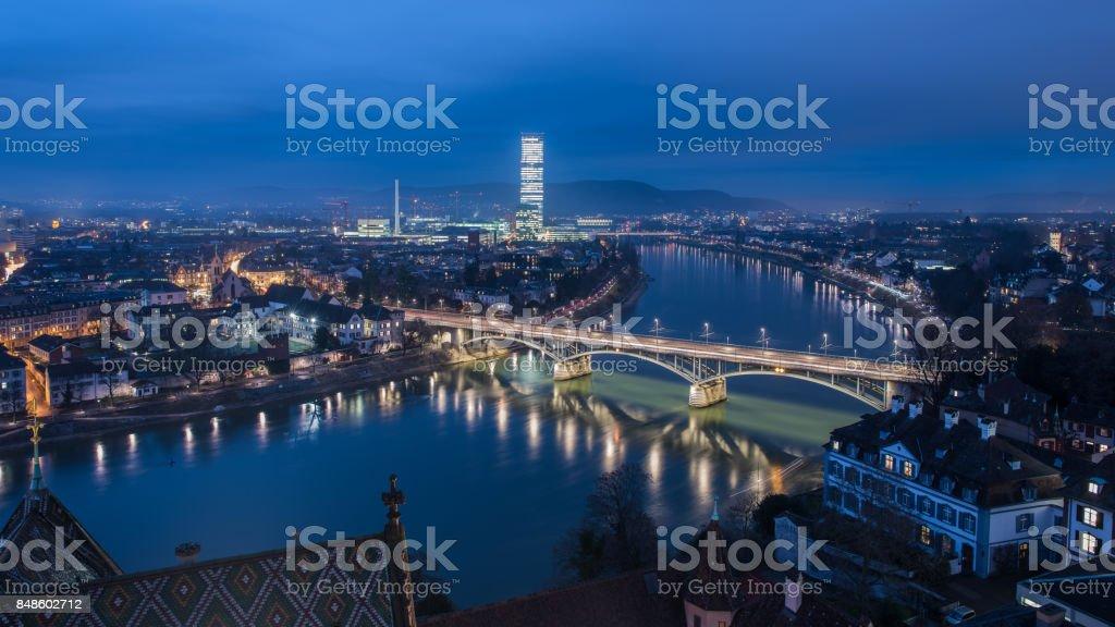 Basel switzerland at night stock photo