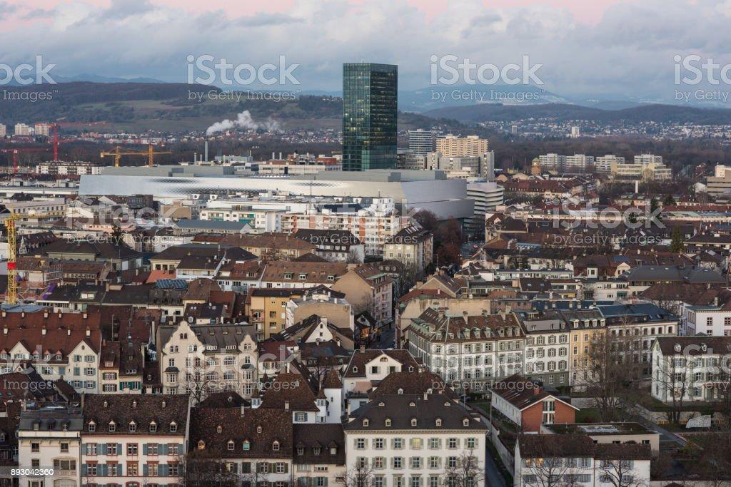 Basel switzerland cityscape dezember 2017 stock photo