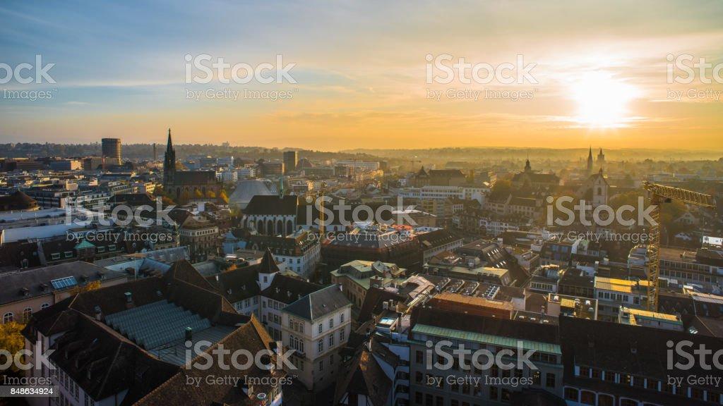 Basel switzerland cityscape stock photo