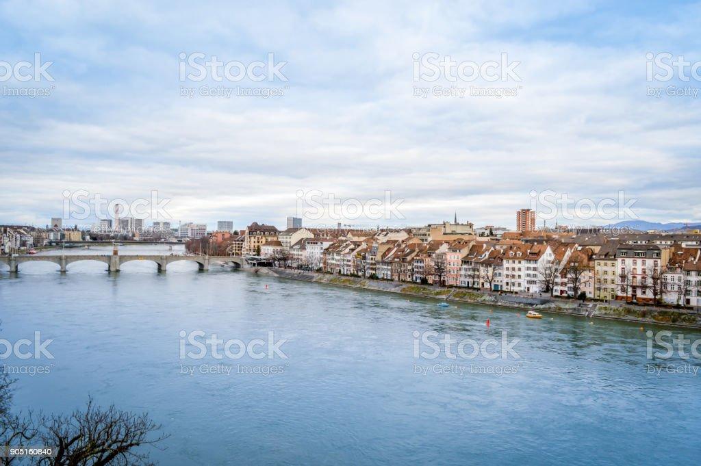 Basel, Switzerland - Middle Bridge and Kleinbasel stock photo