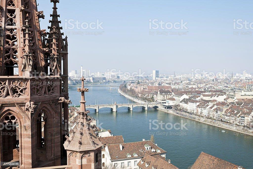 Basel, Switzerland With Rhine And Middle Bridge stock photo