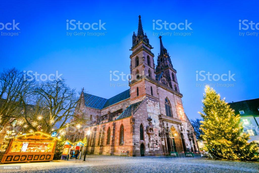Basel, Swizterland - Munster Cathedral and Christmas Market stock photo
