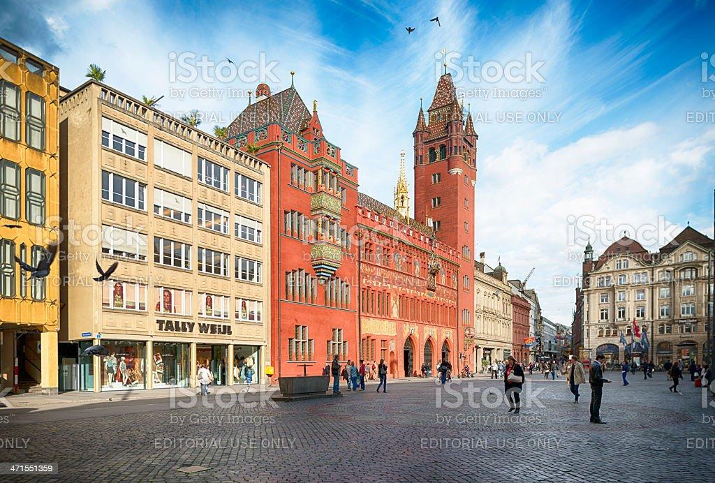 Basel Town Hall and Marktplatz Switzerland stock photo