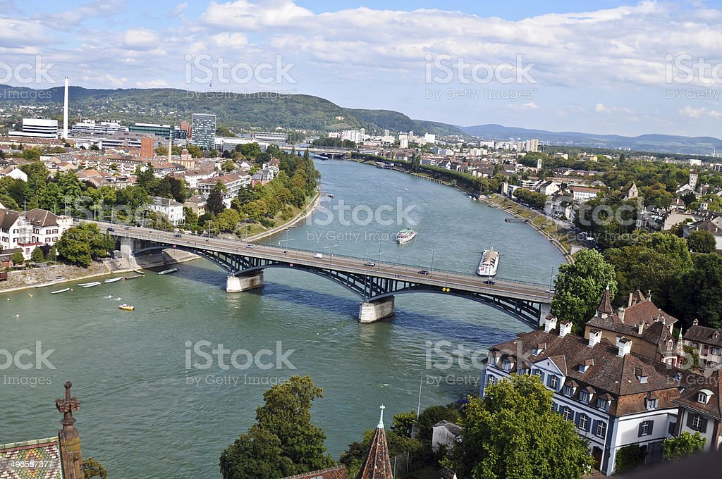 Basel with River stock photo