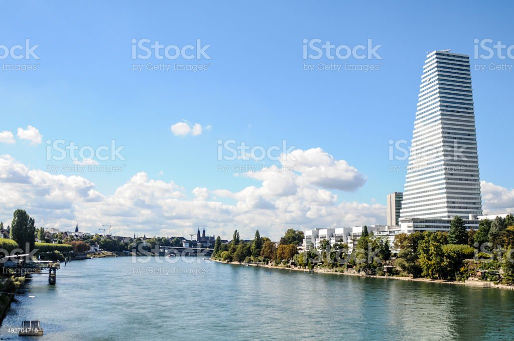 Basel with River Rhine stock photo