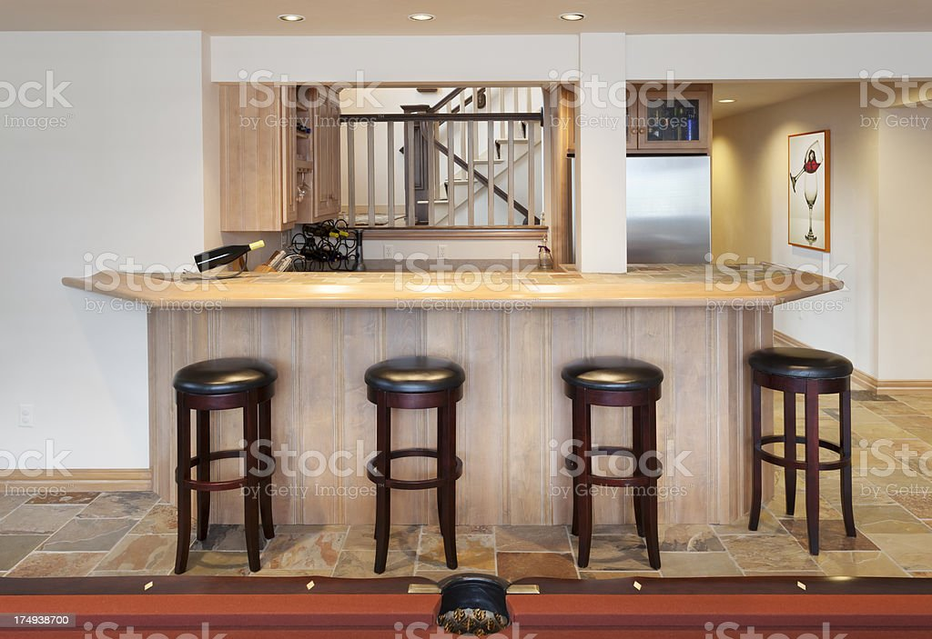 Basement Bar in Man Cave, Billiards Room royalty-free stock photo