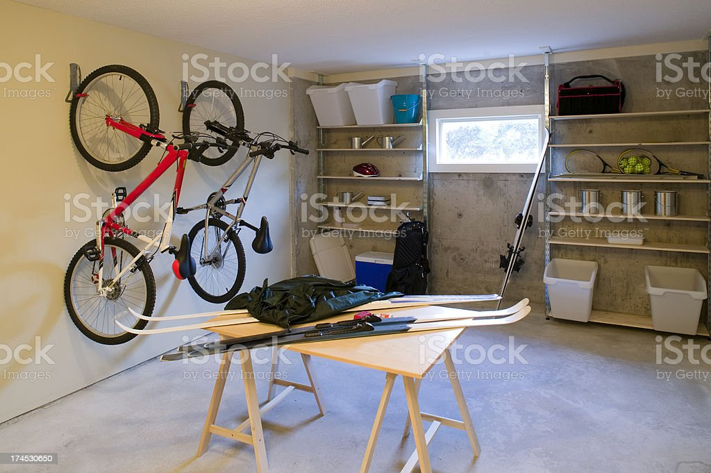 basement house clutter garage storage stock photo