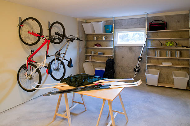basement house clutter garage storage stock photo