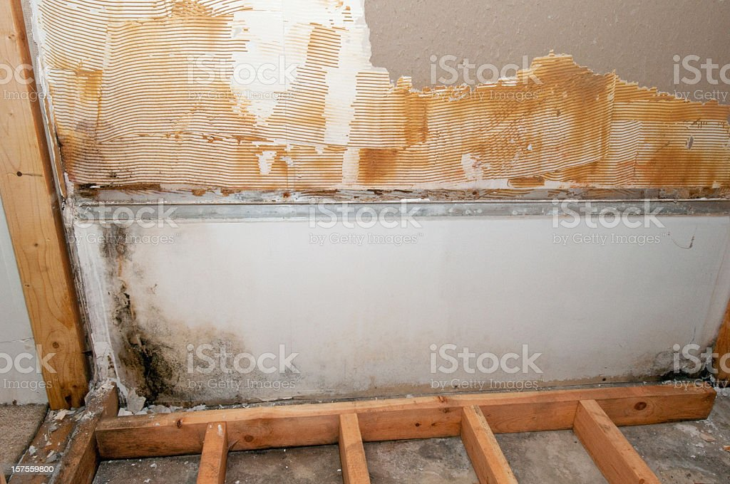 A basement in the midst of construction stock photo