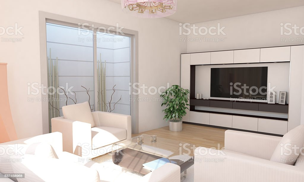 Basement Living Room Interior Design With Television Set stock photo