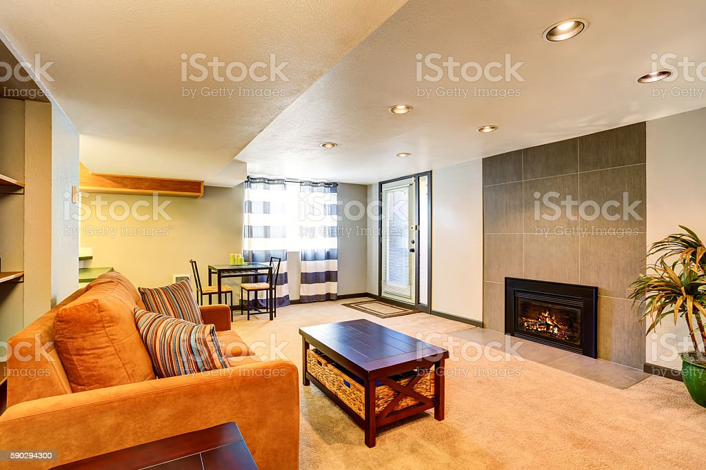 Basement living room interior with fireplace and couch Стоковые фото Стоковая фотография