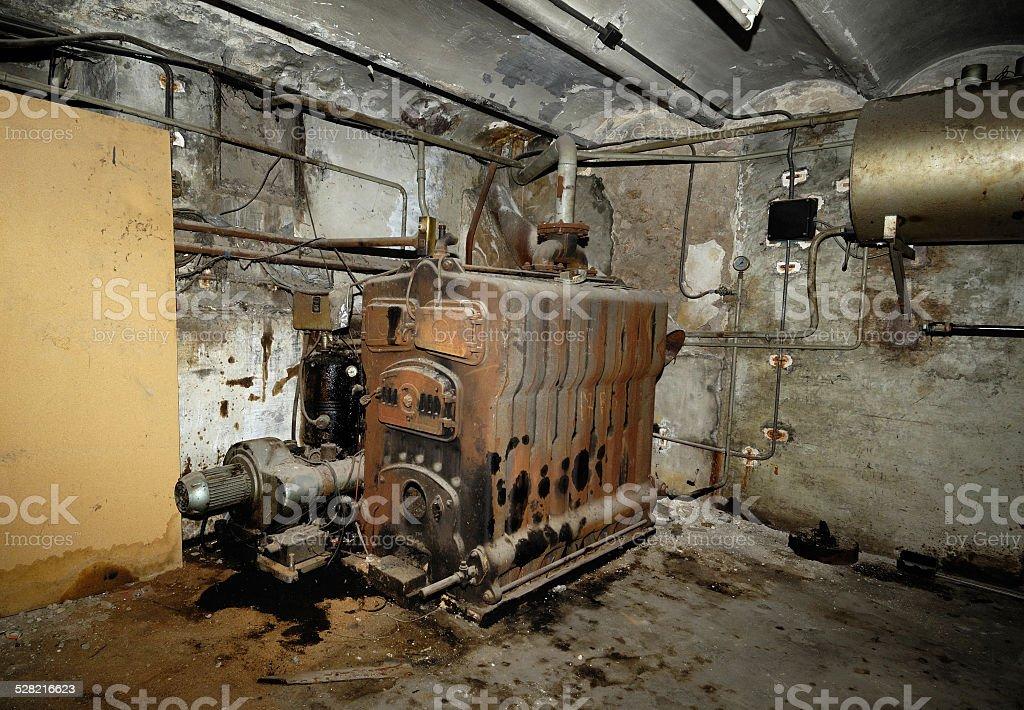 basement, old heating stock photo