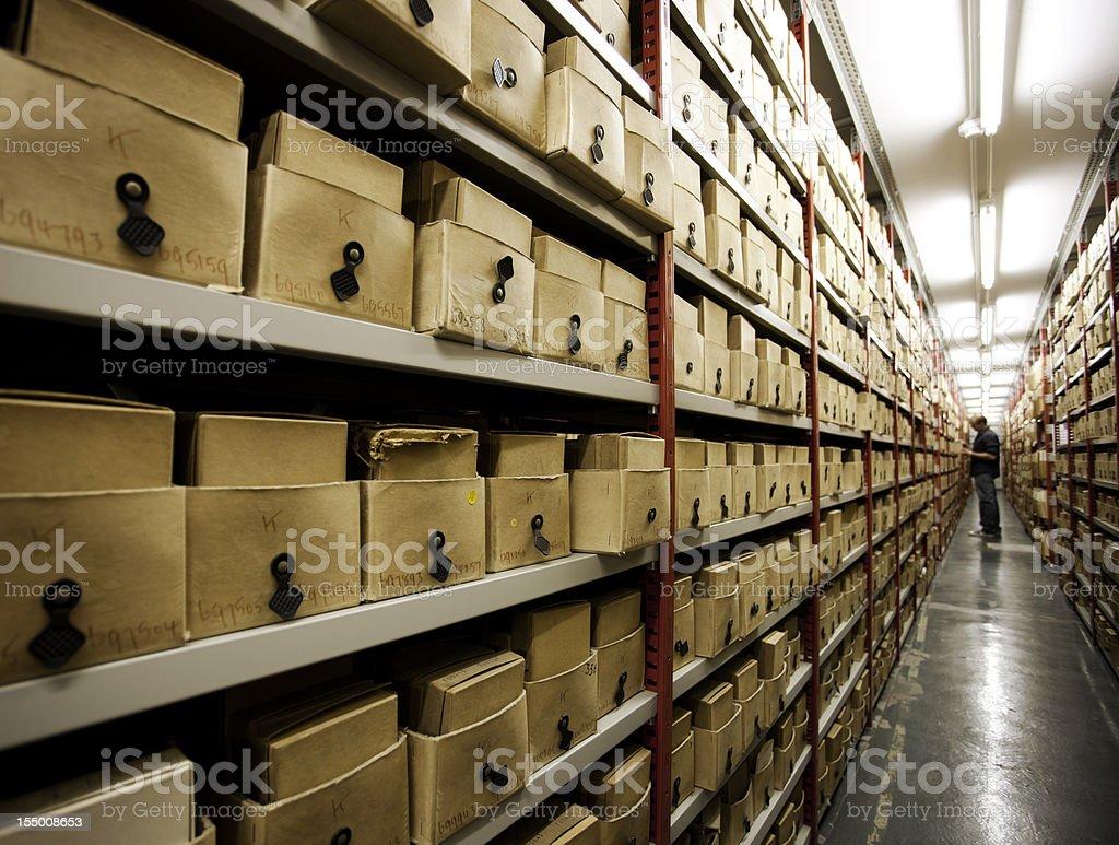 Basement shelving. stock photo