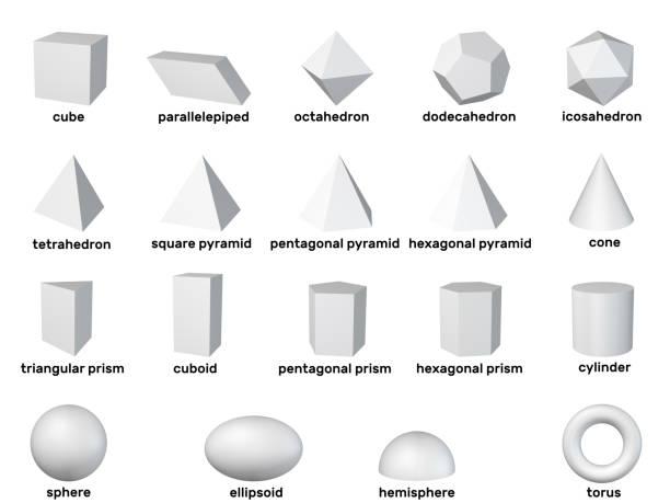 3d geometrischen grundformen. isoliert auf weißem hintergrund. rendering-darstellung. - pyramide sammlung stock-fotos und bilder
